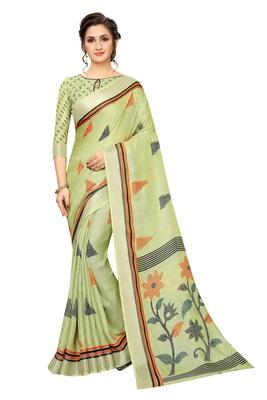 Women'S Designer  Linen Cotton Saree With Designer Blouse
