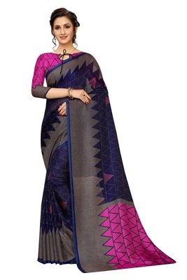 Women'S Designer  Linen Cotton Saree With Designer Blouse