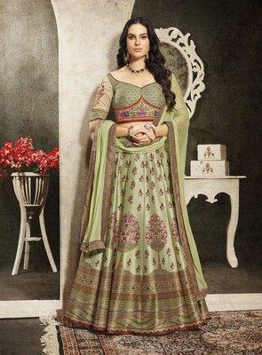 Green embroidered silk semi stitched lehenga