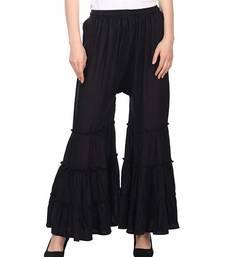 Black plain rayon regular_fit sharara