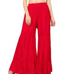 Red plain rayon regular_fit sharara