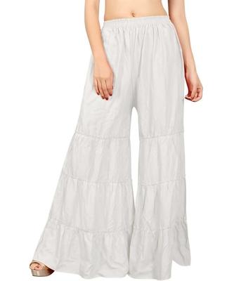 White plain rayon regular_fit sharara