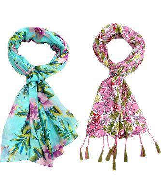 multicolor floral print Polyester scraf