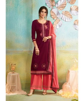 Partywear Maroon Jam Cotton Silk Un-Stitched Plazzo Suits