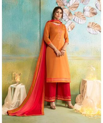 Partywear Orange Jam Cotton Silk Un-Stitched Plazzo Suits
