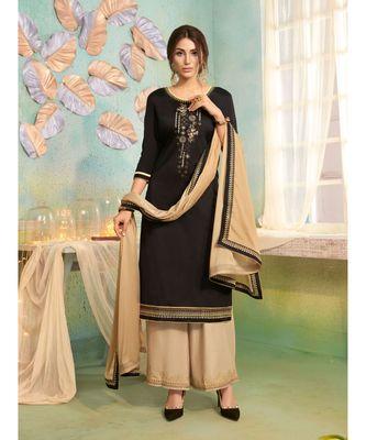 Partywear Black Jam Cotton Silk Un-Stitched Plazzo Suits