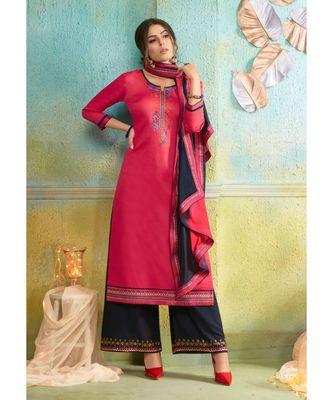 Partywear Pink Jam Cotton Silk Un-Stitched Plazzo Suits