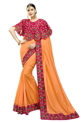 orange embroidered cotton silk saree with blouse