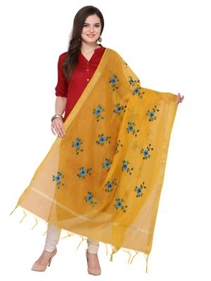 Yellow Cotton Silk Embroidered Womens Dupatta