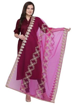 Rani Pink Net Gota Work Womens Dupatta