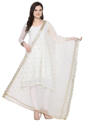 White Net Embroidered Womens Dupatta
