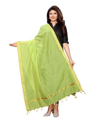 Green Cotton Silk Zari Patta Womens Dupatta
