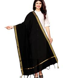 Black Cotton Silk Zari Patta Womens Dupatta