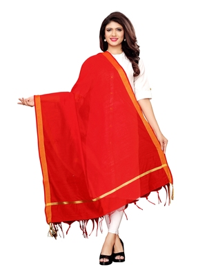 Red Cotton Silk Zari Patta Womens Dupatta