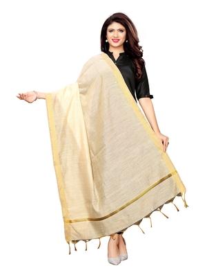 Beige Cotton Silk Zari Patta Womens Dupatta