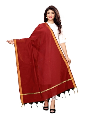 Maroon Cotton Silk Zari Patta Womens Dupatta