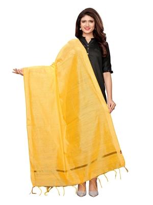 Yellow Cotton Silk Zari Patta Womens Dupatta