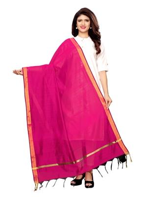 Pink Cotton Silk Zari Patta Womens Dupatta