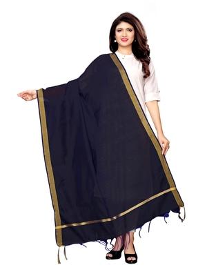 Navy Blue Cotton Silk Zari Patta Womens Dupatta