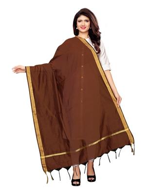 Brown Cotton Silk Zari Patta Womens Dupatta