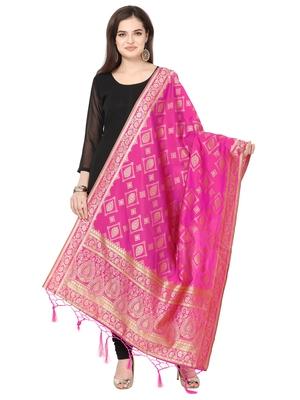 Pink Poly silk Banarasi Womens Dupatta