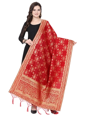 Red Poly silk Banarasi Womens Dupatta