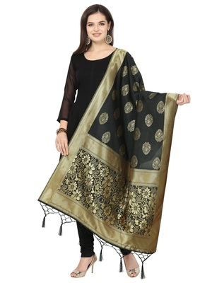 Black Poly silk Banarasi Womens Dupatta