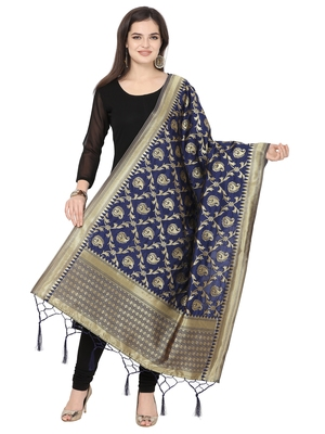 Navy Blue Poly Silk Banarasi Womens Dupatta