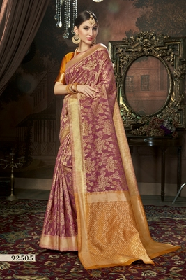 rust printed cotton saree with blouse