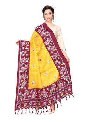 Yellow Bhagalpuri Silk Printed Womens Dupatta
