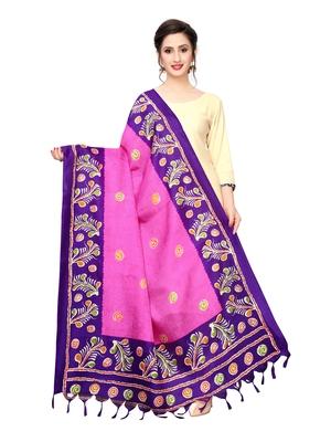 Pink Bhagalpuri Silk Printed Womens Dupatta