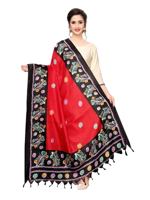 Red Bhagalpuri Silk Printed Womens Dupatta