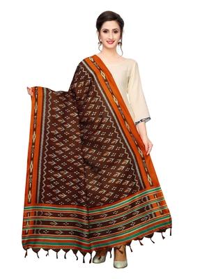 Brown Bhagalpuri Silk Printed Womens Dupatta