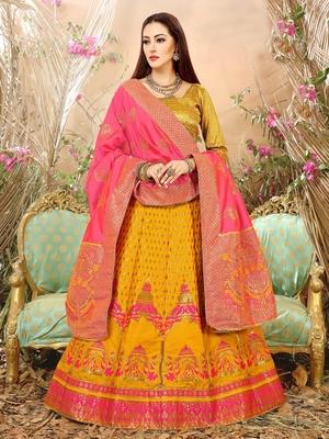 Yellow Jacquard Banarasi Silk A-line Lehenga With Blouse