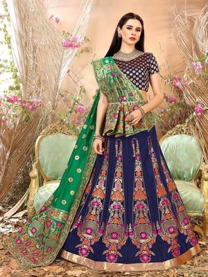 Nevy Blue Jacquard Banarasi Silk A-line Lehenga With Blouse