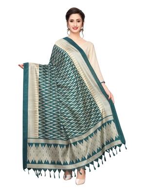 turquoise Bhagalpuri Silk Printed Womens Dupatta