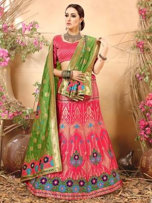 Pink Jacquard Banarasi Silk A-line Lehenga With Blouse