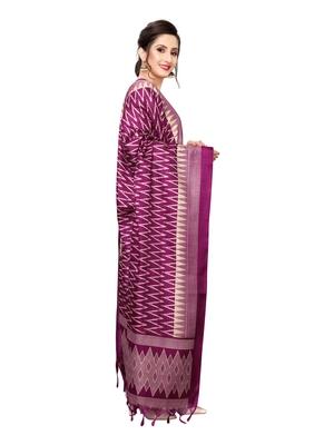 Pink (Rani) Bhagalpuri Silk Printed Womens Dupatta