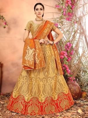 Beige Jacquard Banarasi Silk A-line Lehenga With Blouse