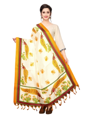 Off White Bhagalpuri Silk Printed Womens Dupatta