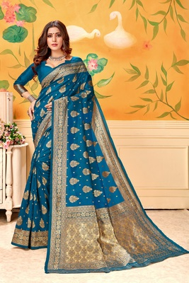Light navy blue woven silk blend saree with blouse