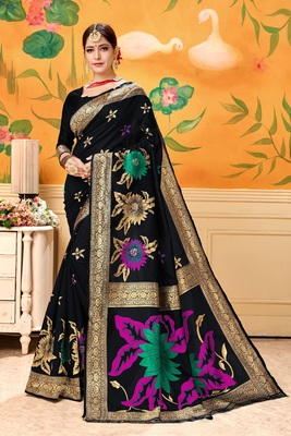 Black woven silk blend saree with blouse