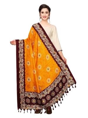 Orange Bhagalpuri Silk Printed Womens Dupatta