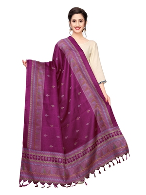 Purple Bhagalpuri Silk Printed Womens Dupatta