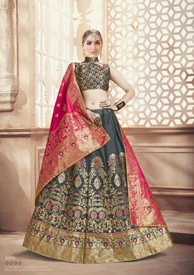 Grey Jacquard Banarasi Silk A-line Lehenga With Blouse