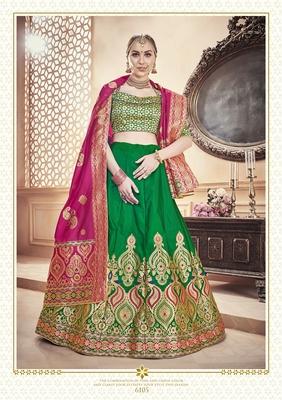 Green Jacquard Banarasi Silk A-line Lehenga With Blouse