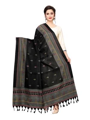 Black Bhagalpuri Silk Printed Womens Dupatta