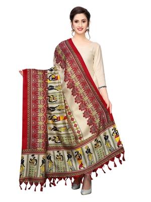 Beige Bhagalpuri Silk Printed Womens Dupatta