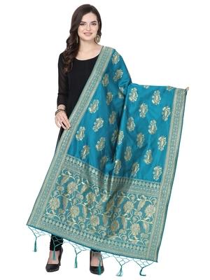 turquoise Poly Silk Banarasi Womens Dupatta