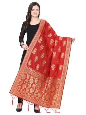 Red Poly Silk Banarasi Womens Dupatta